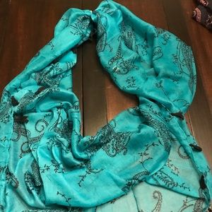 Blue and black paisley design scarf